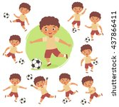 set of curly boy playing... | Shutterstock .eps vector #437866411