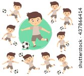 set of boy playing football.... | Shutterstock .eps vector #437866414