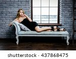 blond cute young female model... | Shutterstock . vector #437868475