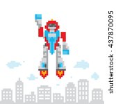 pixel art style cartoon flying... | Shutterstock .eps vector #437870095
