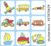 cute seamless baby pattern. set ... | Shutterstock .eps vector #437870629