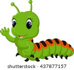 funny caterpillar runs on a... | Shutterstock .eps vector #437877157
