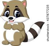 baby raccoon cartoon | Shutterstock .eps vector #437877235
