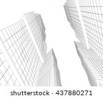 architecture abstract  3d... | Shutterstock . vector #437880271