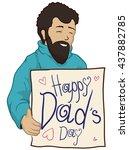 happy dad in turtlenecks coat... | Shutterstock .eps vector #437882785