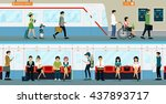 workers and people with... | Shutterstock .eps vector #437893717