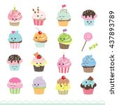 kawaii cupcakes set. cute... | Shutterstock .eps vector #437893789