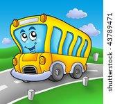 Yellow School Bus On Road  ...