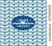 shark fin among the waves... | Shutterstock .eps vector #437896405