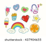 happy colorful patches... | Shutterstock .eps vector #437904655
