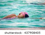 little cute girls deftly swim... | Shutterstock . vector #437908405