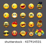 cute emoticons set  emoji  ... | Shutterstock .eps vector #437914531