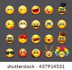 cute emoticons set  emoji  ... | Shutterstock .eps vector #437914531