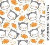 funny baby cat and fish... | Shutterstock .eps vector #437917411