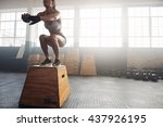 shot of a young woman jumping... | Shutterstock . vector #437926195