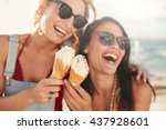 two young female friends having ... | Shutterstock . vector #437928601