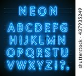 neon font city. neon blue font... | Shutterstock .eps vector #437935249