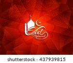 artistic red color eid mubarak...   Shutterstock .eps vector #437939815