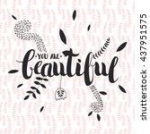 vector hand drawn lettering... | Shutterstock .eps vector #437951575