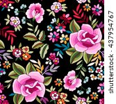 manton shawl  spanish floral... | Shutterstock .eps vector #437954767