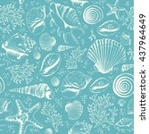 seamless pattern with seashells ... | Shutterstock .eps vector #437964649