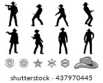 silhouettes of western cowboys... | Shutterstock .eps vector #437970445