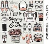 big vector fashion illustration ... | Shutterstock .eps vector #437971591