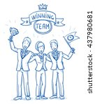 happy successful business team  ... | Shutterstock .eps vector #437980681
