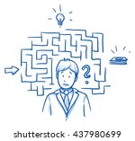 confused business man  with... | Shutterstock .eps vector #437980699