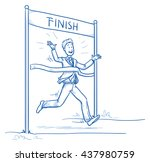 happy business man  running ... | Shutterstock .eps vector #437980759