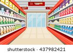 show windows with foodstuffs... | Shutterstock . vector #437982421