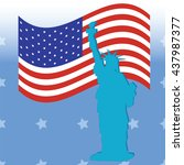 statue of liberty american flag ... | Shutterstock . vector #437987377