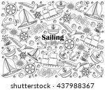 sailing design colorless set... | Shutterstock .eps vector #437988367