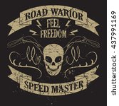 tee skull motorcycle graphic... | Shutterstock .eps vector #437991169