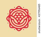 one thin line rose flower logo. ... | Shutterstock .eps vector #437996485