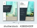 Brochure design. Corporate business template for annual report, catalog, magazine. Layout with modern biege elements and urban style photo. Creative poster, booklet, leaflet, flyer or banner concept | Shutterstock vector #438004309