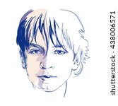 the young boy  vector sketch... | Shutterstock .eps vector #438006571