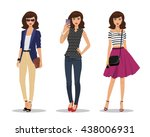 beautiful young women in... | Shutterstock .eps vector #438006931