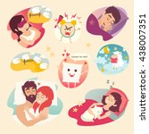 sleep design concept. cartoon... | Shutterstock .eps vector #438007351
