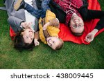 happy young hipster family ... | Shutterstock . vector #438009445