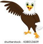 cute eagle cartoon waving | Shutterstock .eps vector #438013609