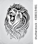 lion head in the ornament | Shutterstock .eps vector #438015481
