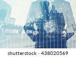double exposure of success... | Shutterstock . vector #438020569