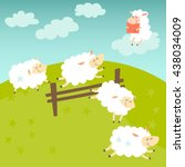 counting sheep. cartoon happy... | Shutterstock .eps vector #438034009