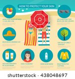 skin protection and sun safety... | Shutterstock .eps vector #438048697