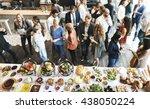 business people meeting eating... | Shutterstock . vector #438050224