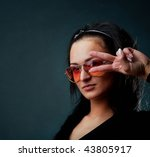 picture of young female wearing ...   Shutterstock . vector #43805917