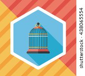 pet bird cage flat icon with... | Shutterstock .eps vector #438065554