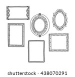 vintage photo frame in doodle... | Shutterstock .eps vector #438070291