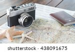 Vintage Old Camera And Map  An...